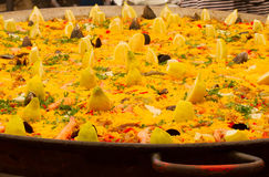 Typical Spanish paella in big pan, street market Royalty Free Stock Photo