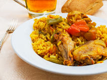Typical spanish Paella tapa. Stock Photo
