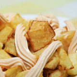 Typical spanish patatas bravas, spicy potatoes Royalty Free Stock Images