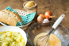 Typical Spanish potato omelet ingredients Royalty Free Stock Images