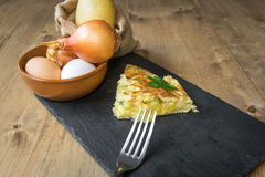 Typical Spanish potato omelet Stock Photos