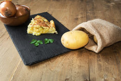 Typical Spanish potato omelet Royalty Free Stock Photography