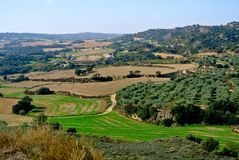 Typical spanish rural landscape, agricultural fields of Aragon royalty free stock photo