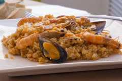 Typical Spanish seafood paella Royalty Free Stock Images