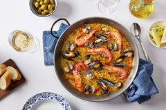 Typical spanish seafood paella Royalty Free Stock Photography