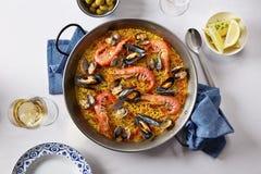 Typical spanish seafood paella Stock Photos