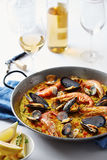 Typical spanish seafood paella Royalty Free Stock Photo