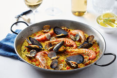 Typical spanish seafood paella Stock Images