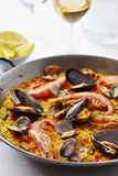 Typical spanish seafood paella Royalty Free Stock Photos