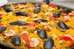 Typical spanish seafood paella Stock Photography