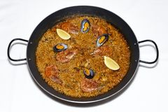 Typical Spanish seafood paella stock photos