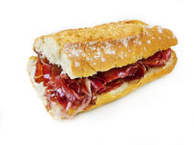 Typical spanish serrano ham sandwich Royalty Free Stock Photos