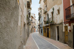 Typical spanish street. Typical smal spanish street in Villajoyosa Royalty Free Stock Photography