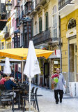 Typical Spanish Street Cafe in Malaga Royalty Free Stock Photos