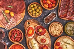 Typical spanish tapas concept. Royalty Free Stock Photo