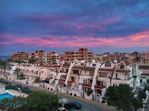 Typical spanish urbanization at sunset. Torrevieja. Alicante province, Spain Royalty Free Stock Photo