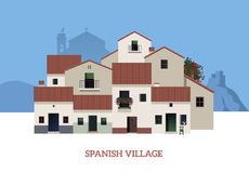 Typical Spanish Village with castle, monuntain and church on the background Royalty Free Stock Photo