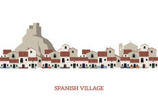 Typical Spanish Village with castle, mountain and church on the background Royalty Free Stock Photography