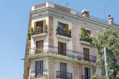 Typical spanish vintage  building in Barcelona ,Spanish Stock Image