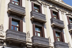 Typical spanish vintage  building in Barcelona ,Spanish Stock Photography