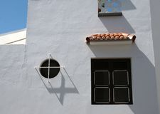 Typical spanish white house in tennerife with black windows Stock Images