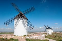 Typical spanish windmills Royalty Free Stock Photos