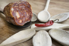 Typical spicy salami of Calabria called soppressata Royalty Free Stock Photography
