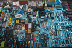 Typical stall on a flea market Royalty Free Stock Photos
