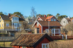 Typical Stockholm archipelago village. Royalty Free Stock Images