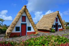 Traditional thatched stone houses in Santa Ana, Madeira royalty free stock photo