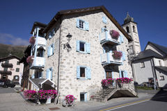 Typical stone mountain houses,  Italian alps, Italy Royalty Free Stock Images