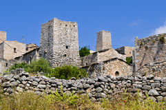 Typical stone tower-houses in mani Stock Image