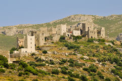Typical stone tower-houses in mani Royalty Free Stock Images