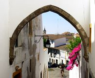 Typical street of Évora III. Typical street of the city of situated Évora in the South of Portugal, capital of the Alentejo region considered património royalty free stock photos