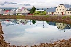 Typical street of Akureyri downtown Royalty Free Stock Photos