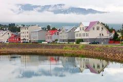 Typical street of Akureyri downtown. Iceland Royalty Free Stock Photo