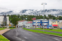 Typical street of Akureyri downtown. Iceland Royalty Free Stock Image