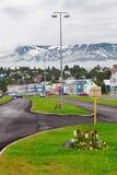 Typical street of Akureyri downtown Royalty Free Stock Photo