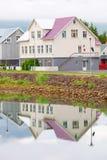 Typical street of Akureyri downtown Stock Photo