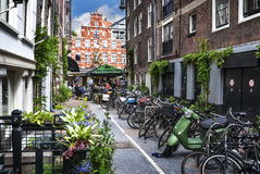 A typical street in Amsterdam city Stock Image