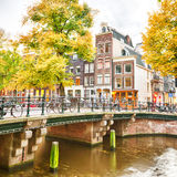 Typical street in Amsterdam, Holland Royalty Free Stock Photos