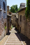 Typical street of Assisi, medieval italian town Royalty Free Stock Image