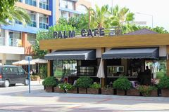 A typical street cafe on one of the main streets of the city Alanya, Turkey in July, 2017 Stock Photo