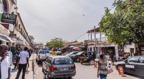 typical street in the capital Gambia Banjul royalty free stock photo