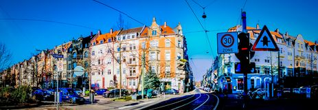 A typical street in the central area of Karlsruhe in Germany royalty free stock photography