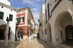 A typical street in the city of Ciutadella Royalty Free Stock Photo