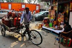 A typical street corner in Delhi, India. stock photo