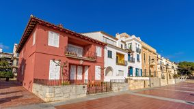Typical street detail in a small village Calella de Palafrugell Costa Brava, Spain.  stock image