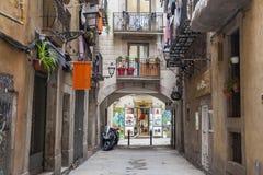 Typical street in El Born quarter of Barcelona. Stock Image