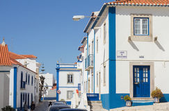 Typical street in Ericeira Portugal Stock Images